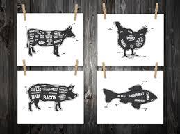 detailed cow butcher diagram