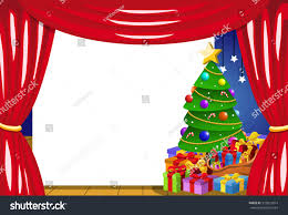 blank frame on stage decorated christmas stock vector 513821014
