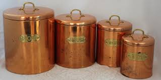 vintage odi copper canister set with brass tags and handles for vintage odi copper canister set with brass tags and handles for flour sugar coffee