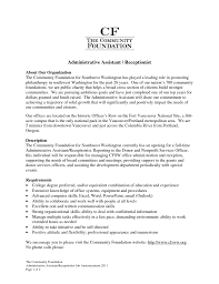 Resume Samples Executive Assistant Sample Resumes For Receptionist Admin Positions Administrative