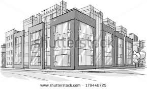 architecture sketch drawing buildingcity stock vector 179448725