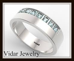 14k gold wedding band 14k gold princess cut aquamarine wedding band vidar jewelry
