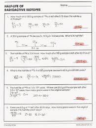 half life worksheet worksheets