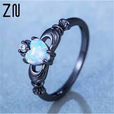 black gold mothers ring heart cut rainbow opal ring fashion white cz wedding
