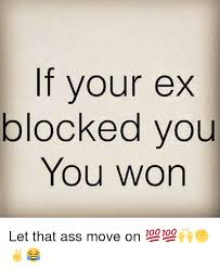 if your ex blocked you you won let that ass move on