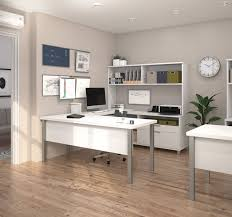 modern white u shaped office desk with hutch office cleaning