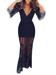 v neck see through black lace ankle length dress without