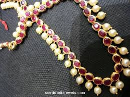 pearl ruby necklace images 19 grams ruby pearl necklace south india jewels jpg
