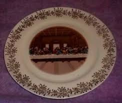 sanders mfg co lord s supper plate lord s supper plate 10 sanders mfg co edition 23 k gold