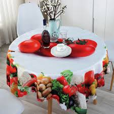 aliexpress com buy round tablecloths fresh vegetable and fruit