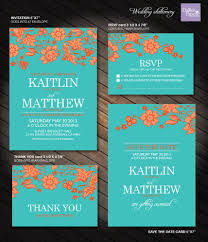 Customized Wedding Invitations Turquoise And Orange Flower Wedding Printables Customized