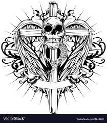 skull cross wings royalty free vector image vectorstock