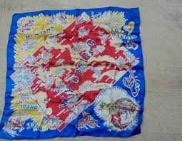 Western Montana Map by Vintage Wyoming State Map Square Blue Scarf Cowboys Western