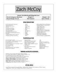 Actor Resume Special Skills Resumé U2014 Zach Mccoy