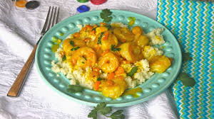 gluten free curried shrimp with cauliflower rice