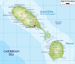 Map Of Caribbean Island by St Kitts And Nevis Physical Map Islands Miles Of Isles