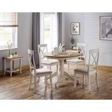 Dining Room Sets 4 Chairs Julian Bowen Davenport Round Dining Set With 4 Davenport Dining Chairs