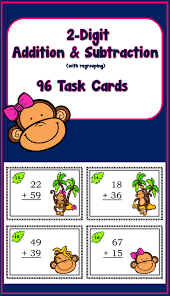 adding and subtracting 2 digit numbers 96 task cards math