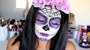 Skeleton Face Paint For Halloween by Dia De Los Muertos Makeup Tutorial Purple Sugar Skull Youtube