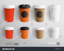 mockup set paper plastic coffee cup stock vector 737917171