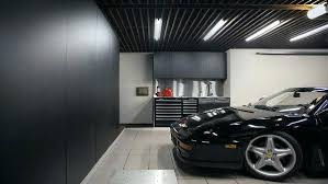 Garage Interior Design Cool Garage Lighting Layout With Black Ceiling And Cabinetscool