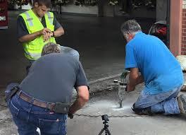 Leveling Uneven Concrete Patio by Foamworks Polyurethane Concrete Raising Dallas Texas