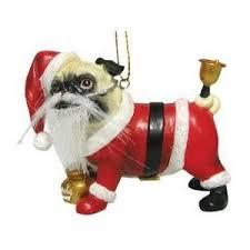 pug as santa claus ornament new gi