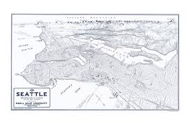 Map Of Seattle Vintage Panoramic Map Of Seattle Old Maps And Prints Emerald