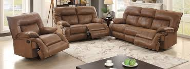 Recliner Sofa 3 Pcs Brown Breathable Leatherette Loveseat Recliner Sofa Set