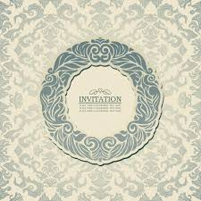 Wallpaper Invitation Card Abstract Background With Blue Vintage Frame Old Style Banner