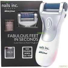 nails inc electronic foot file kit powered by micro pedi with 2