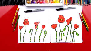how to draw poppies art for kids hub