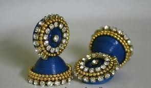 paper ear rings paper earring blue with stones jhumka at rs 120 pair earring