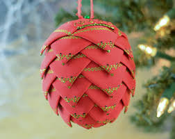 folded ribbon pinecone ornament tree bauble handmade