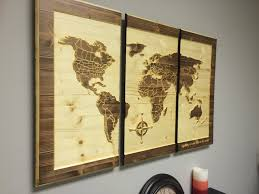 wood wall art carved world map home decor customize wooden 3