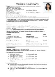 free exle resume pdf resume template for fresher 10 free word excel format 1 sle