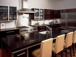 Cozy Kitchen Designs Kitchen Brown Dining Tables Black Bar Stool Black Granite