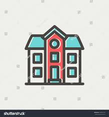two storey house two storey house building icon thin stock vector 284707169