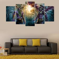 aliexpress com buy 5 panel world of warcraft game poster wall