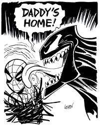 spider man and venom sketch by lostonwallace on deviantart