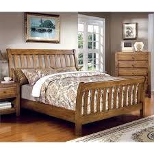 Oak Sleigh Bed Furniture Of America Slat Sleigh Bed In Rustic Oak