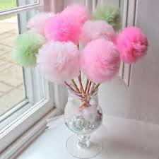 tulle flowers fluffy party pom pom gauze tulle flower magic wand stick venue