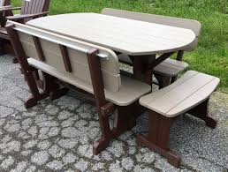 poly deluxe oval picnic table set with benches amish traditions wv