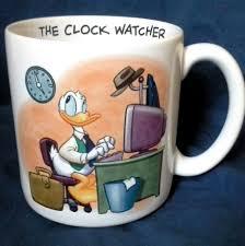 donald duck disney store clock watcher funny coffee mug cup office