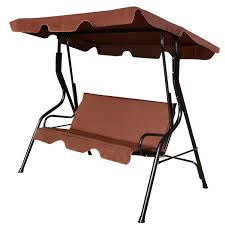 Outdoor Canopy Chair Brown 3 Person Sitting Patio Swing Chair Cushion Seat For Outdoor