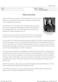 biography for martin luther king comprehension martin luther king