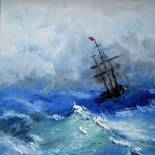 original oil painting ship in a storm by sveklacolor on