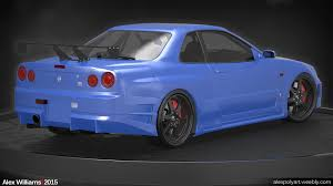 nissan skyline 2015 blue alex williams nissan skyline r34