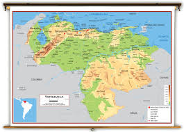 South America Physical Map by Venezuela Physical Educational Wall Map From Academia Maps