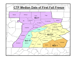 New Stanton Pa Map Normal Dates Of Last Freeze In Spring And First Freeze In Autumn